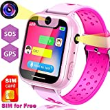 [Speedtalk SIM Included] Kids Smart Watch with GPS Tracker - Smart Watch Phone with SIM Card SOS Two Way Call Camera Smartwatch for Kids Girls Boys Electronic Learning Watch for Back to School Gift