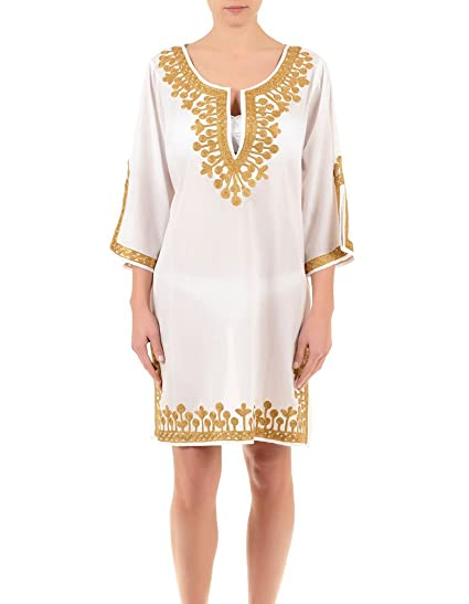 4488436627a2 Iconique IC7-095 Women s White and Gold Embroidered Kaftan  Iconique ...