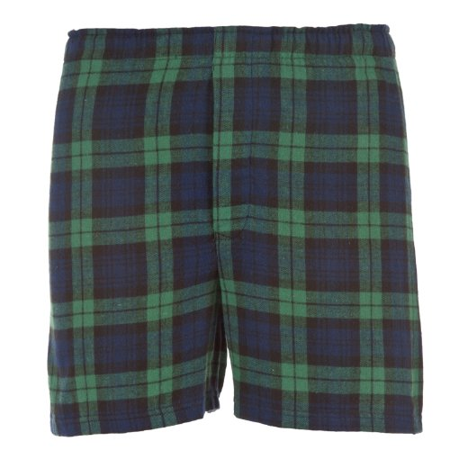 Blackwatch Tartan Plaid Check Classic Cut Flannel Boxer Shorts, Unisex Sizes, Large
