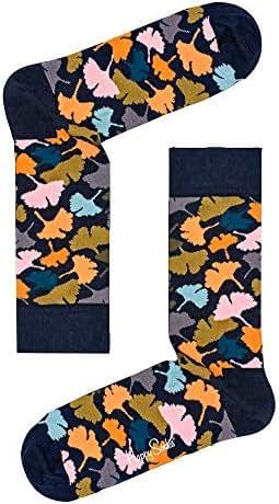 Happy Socks Unisex Ginkgo Leaves Crew Socks (One Pair)
