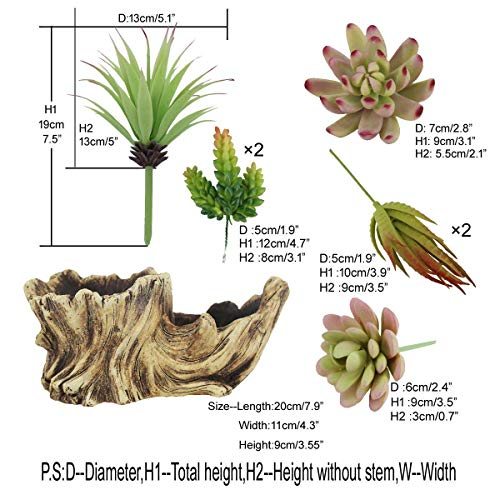 Greatflower Fake Resin Driftwood Stump Pot with Artificial Succulent Arrangement by Greatflower (Image #6)