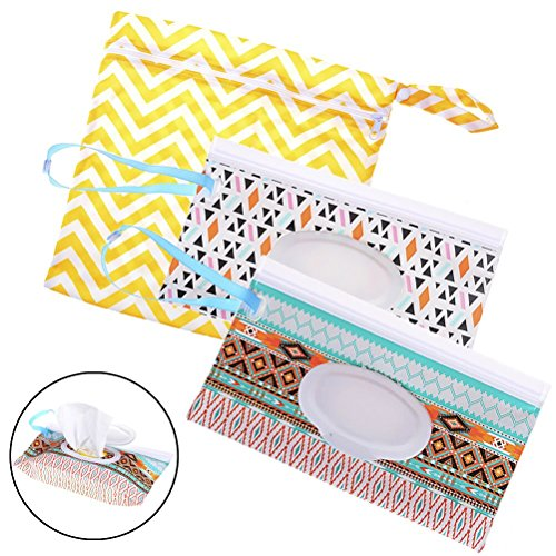 2 Pack Wet Wipe Pouch + 1 Pack Diaper Bag, Travel Wipes Holder Case Reusable Refillable Wet Wipe Bag Travel Wipes Dispenser Portable Baby Wet Wipe Pouches ()
