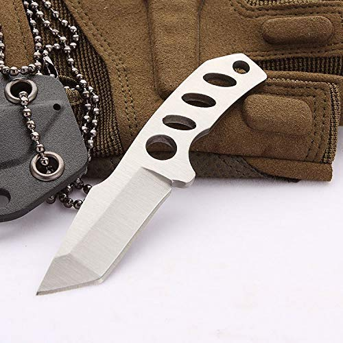 Speedy Panther Mini Fixed Blade Knife Black Tanto Blade Rescue Pocket Knife Small Necklace Knife with Kydex Sheath (White)
