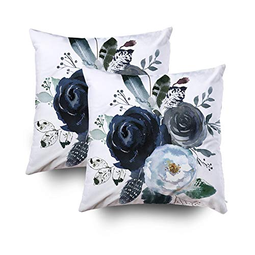 - HerysTa Easter Home Decorative Body Pillow Cover Pack of 2 18X18inch Invisible Zipper Cushion Cases Watercolor Floral Wreath Roses Peonies Leaves Boho grey Navy White Indigo Blue Square Sofa Bed Décor