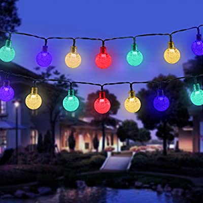 Vmanoo Christmas Solar Powered Globe Lights,30 LED (19.7ft) Globe Ball Fairy String Light for Outdoor, Xmas Tree, Garden, Patio, Home, Lawn, Holiday, Wedding Decor, Party (Multi-color)