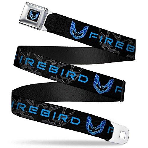 Buckle-Down Seatbelt Belt - Pontiac FIREBIRD/Logo Black/Grays/Blues - 1.5