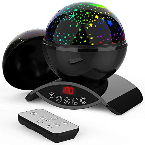 Foreita Chargable Remote Control Star Light Rotating Projector Night Lights,Best Gift for Kids Baby Children- Black