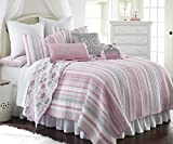 Daniella Full/Queen Quilt Set Pink, Grey Stripes and Owls on Reverse Side