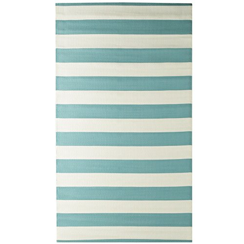 iCustomRug Oudoor Rug Collection - Stripe Aqua Blue 9X12 Lightweight Reversible Plastic Rug for Outdoor Decks, Patios, Camping, Picnic and Beach Area Rug ()