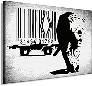 Banksy Graffiti Street Art 1329. Size 100x70x2cm(l/h/w). Canvas On Wooden Frame. Made In Germany.
