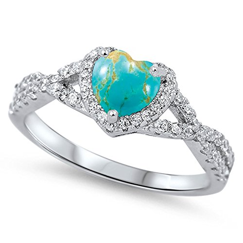 - 925 Sterling Silver Cabochon Natural Genuine Blue Copper Turquoise Heart Halo Promise Ring Size 4