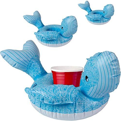 Premium Inflatable Drink Holder (Whale) - 3 Pack of Pool Drink Holder Floats, Unique Drink Float Design, Fun Drink floaties for Adults / Kids, Floating Cup Holder coozie - inflables para Piscina