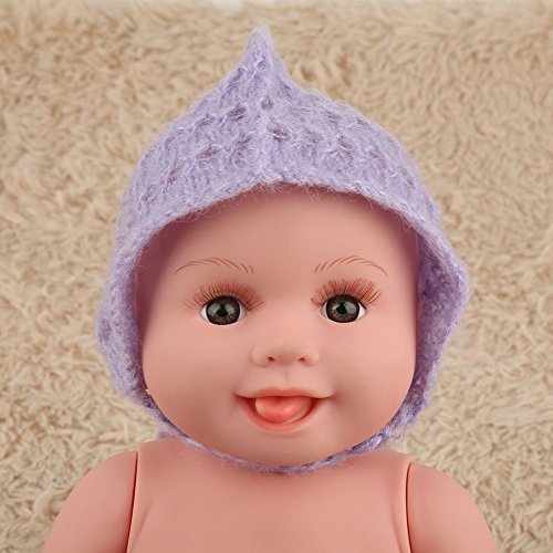 Fashion Cute Newborn Boy Girl Photography Props Outfits Mohair Knit Hat Infant Hand Knitting Hat Photo Photography Prop Costume(Light Purple) ()