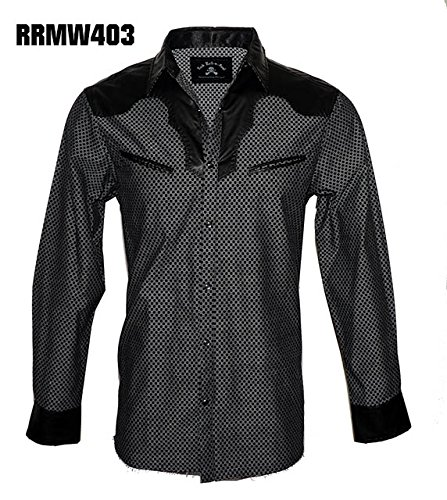 Men's Long Sleeve Western Faux Leather Yoke Fashion Button up Shirt In Black Stars In The Sky RRMW403B (XL)