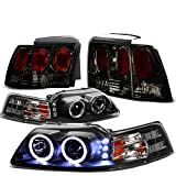 01 mustang halo headlights - Ford Mustang Pair of Black Housing Amber Corner Halo Projector LED DRL Headlight + Smoked Lens Altezza Style Tail Light