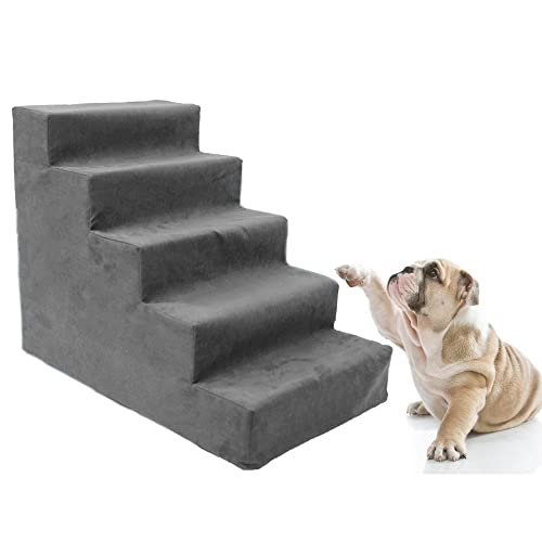 Toparchery Upgraded 5 Dog Steps For High Bed, All Foam Pet Stair Animal  Ramp Ladder
