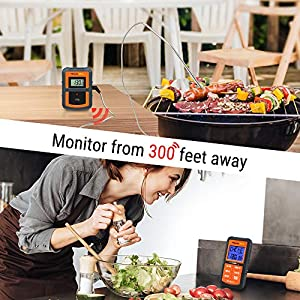 Thermopro Tp07 Remote Wireless Digital Kitchen Cooking Food Meat Thermometer With Timer For Bbq Smoker Grill Oven 300 Feet Range by ThermoPro