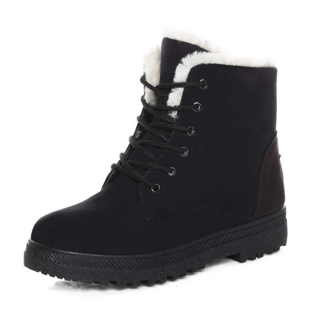 Winter Snow Boots for Women Suede Cotton Warm Fur Lined Ankle Boots Outdoor Anti-Slip Waterproof Booties Lace Up Platform Shoes
