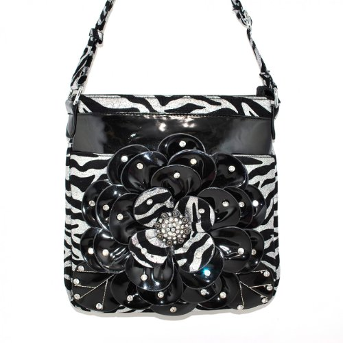 Flower Zebra Women's Meesenger Bag in 2 Colors, Silver