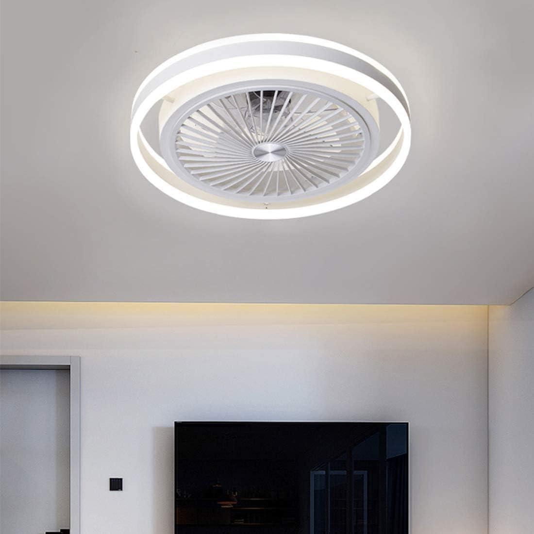 Ventilador de techo con iluminación, con mando a distancia, regulable, velocidad del viento regulable, 40 W, moderno, LED, silencioso, lámpara colgante para dormitorio, salón, oficina, color blanco