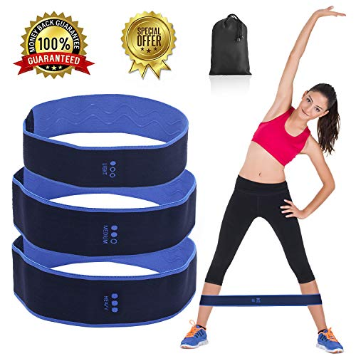 fanson FIT Hip Bands,Hip Resistance Band Legs Butt,Booty Resistance Workout Hip Exercise Bands, Exercise Band + 3 Resistance Loops (36lb)