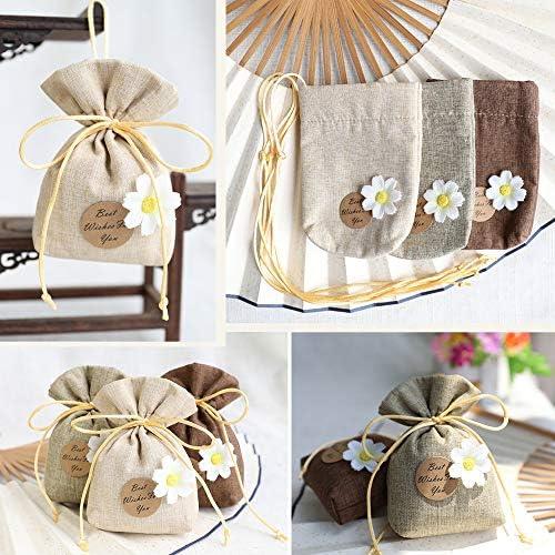 Noix,15 * 20cm Bapt/ême F/ête,Bijoux Cadeau Dessert FOGAWA 20Pcs Sachet Jute Sachet Dragees Lin /à Cordon Coulissant pour Mariage Anniversaire