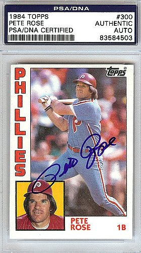 Pete Rose Signed 1984 Topps Trading Card #300 Philadelphia Phillies - PSA/DNA Authentication - Autographed MLB Baseball Cards ()