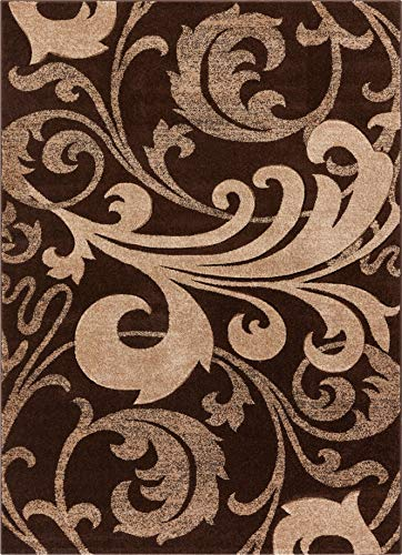Melanie Floral Brown & Beige Modern Geometric Comfy Casual Fleur-de-Lis Hand Carved Area Rug 8x10 8x11 ( 7