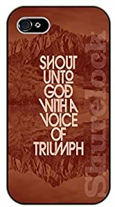 iPhone 5C Bible Verse - Shout unto God with a voice of triumph. Mountains - black plastic case / Verses, Inspirational and Motivational