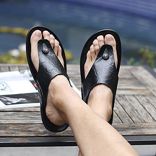 ZHNAGJIA Flip Flops, Herren Hausschuhe, Rutschfeste Schuhe, Sandalen, Sandalen, Sandaletten, Sandalen, Sandaletten und Sandalen, 44,589 Schwarz