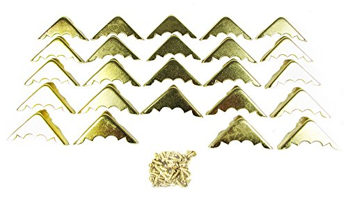 24pcs. Decorative Brass-Plated Box Corners with mounting ...
