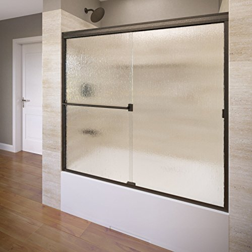 Basco Classic Semi-Frameless Sliding Tub Door, Fits 56-60 inch opening, Rain Glass, Oil Rubbed Bronze Finish Classic Basco Shower Enclosure