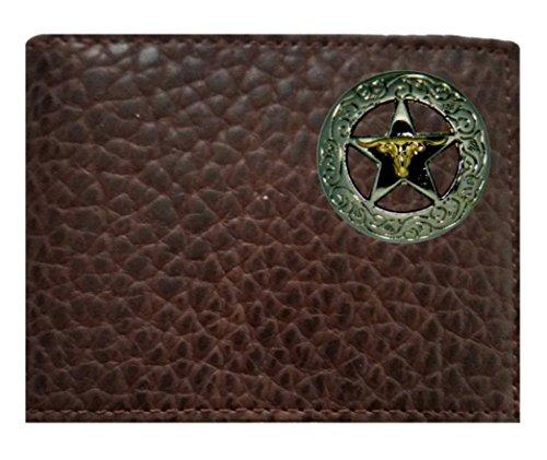 Star Custom made Bi American Chocolate Concho on Rugged fold a Bi USA ID Leather the Proudly in Flip Wallet foldhorn Buffalo Star Brown wttqrx