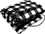"""Sojoy 12V Heated Travel Electric Blanket for Car, Truck, Boats or RV with High/Low Temp Control Checkered 45 Smart Timing (60""""x39"""") Black and White"""