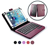 Cooper Infinite Executive Keyboard Case for 7-8' Tablets | 2-in-1 Bluetooth Wireless Keyboard & Leather Folio Cover, Universal, 100HR Battery (Purple)
