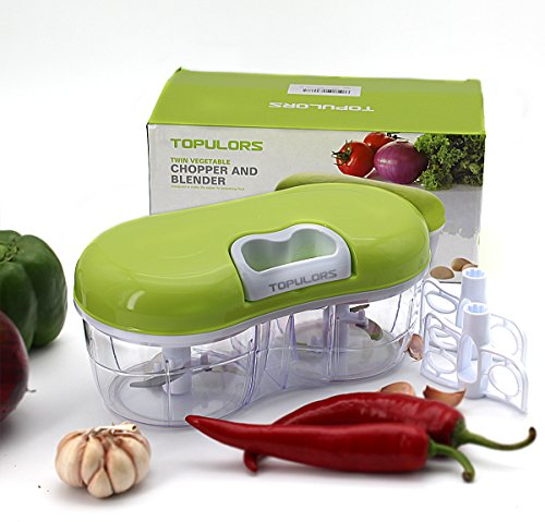 Twin Choppers (Topulors Hot Sale Manual Food Chopper Hand-Powered Food Chopper Compact Handheld Onion Chopper, Garlic Squeezer, Ginger Slicer, Pepper Cut, Herbs Chop, Cheeses Chopper Masher (twins chopper))