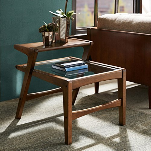 mid century modern retro wood 2 level accent end side table with glass top in pecan finish