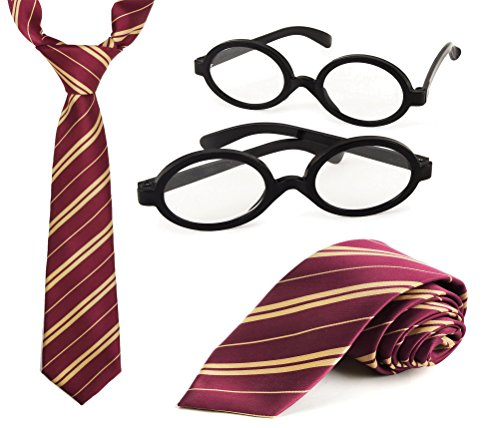 Harry Potter Halloween Costumes Easy (Harry Potter Costume Set, 2 Harry Potter Tie's, 2 Black Wizard Novelty Glasses (No Lenses), Best accessory for Halloween and Christmas, By 4E's Novelty,)
