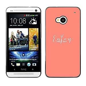 Caucho caso de Shell duro de la cubierta de accesorios de protección BY RAYDREAMMM - HTC One M7 - Peach Text Love Heart Motivational