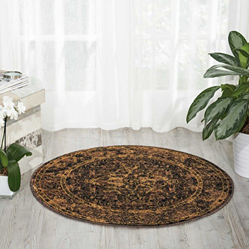 Brown Oriental Round Rug (Nourison Delano DEL07 Traditional Oriental Persian Espresso (Brown) Area Rug,  3'4