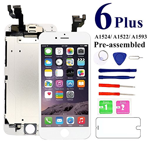 for iPhone 6 Plus (White) Screen Replacement,Nroech 5.5'' LCD Display Touch Screen Digitizer Full Assembly with Front Camera-Ear Speaker-Free Repair Tools, for A1522, A1524, A1593 (Lcd Iphone 6 White)