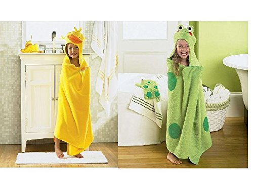 Jumping Beans Frog and Duck Hooded Bath Towel Wrap for Po...