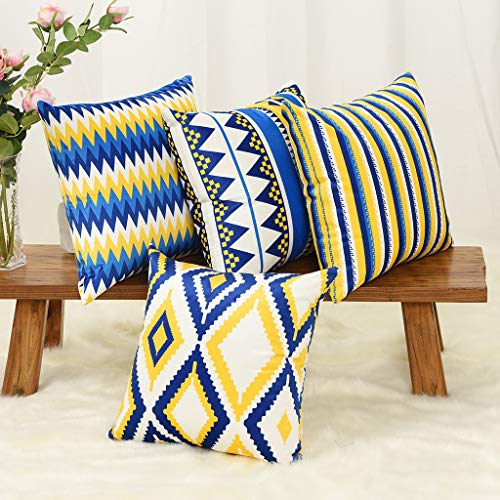 YINNAZI Geometric Pattern Double-Sided Printing Velvet Square Throw Pillow Cases Decorative Cushion Covers for Couch Sofa Chair Bench 18 Inch Set of 4 Blue Navy and Yellow (Yellow Green And Cushions)