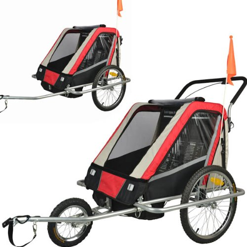 Suspension Children Bicycle Trailer & Jogger Combo Red 50301