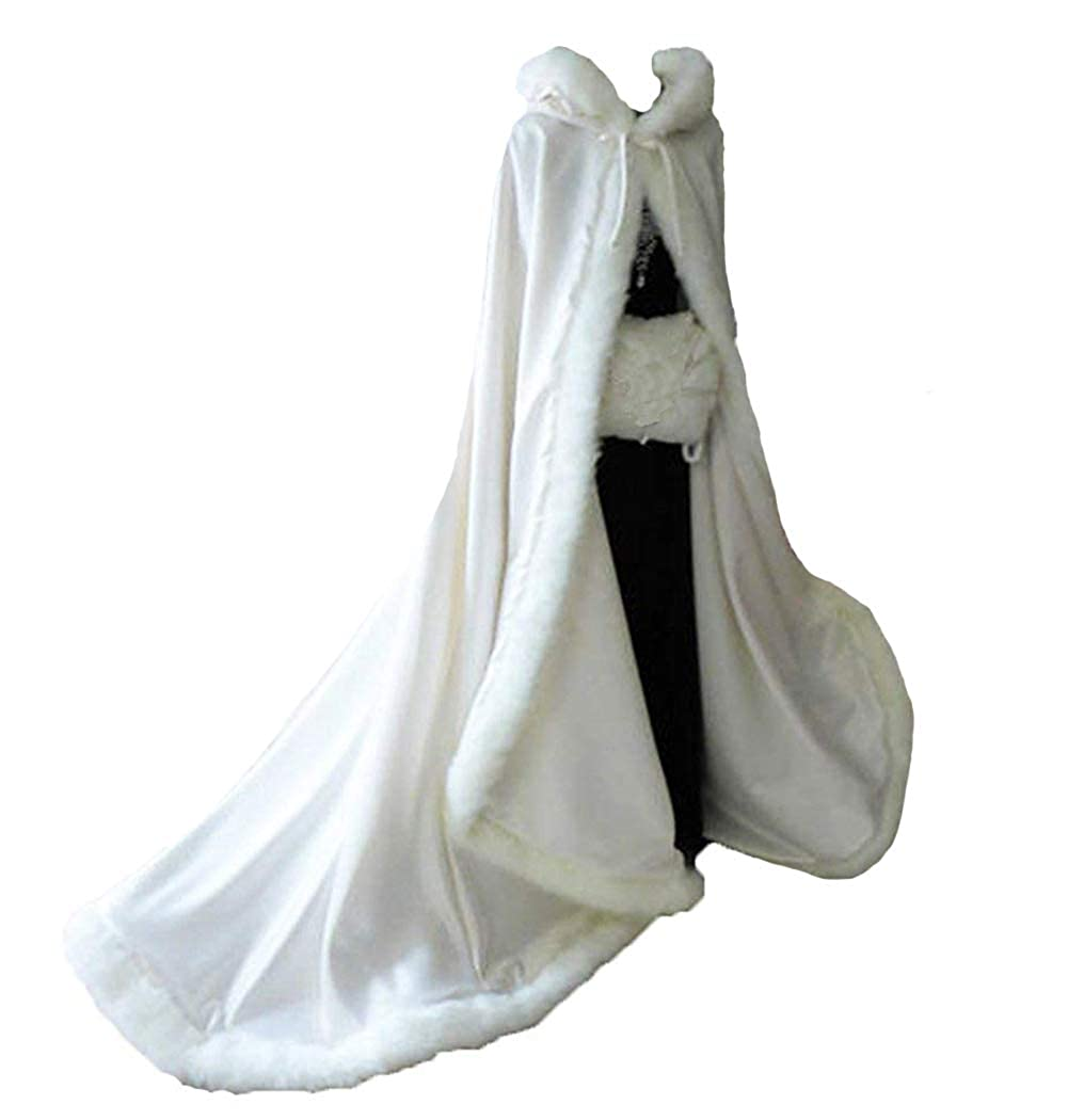 Ivory Lemai Long Wedding Cloak with Hooded Cape Winter Fur Trim and Hand Muff 50 55 59 71 Inches (20 colors)