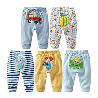 MeterMall 5PCS Baby Fashion PP Pants Cartoon Animal Printing Cotton Baby Trousers Kid Wear Baby Pants boy Modes Random 36M