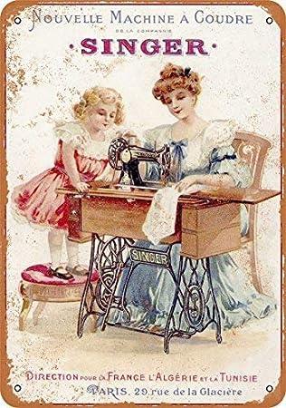 Kilburn 1889 Máquina de Coser Francesa Estilo Retro Creativo para decoración de Pared, diseño de Fondo de Tendencia de Personalidad, Pintura de Hierro de Estilo Simple