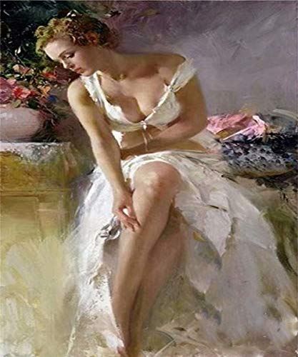 5D Diy Diamond Painting - Resin Cross Stitch Kit - Crystals Embroidery - Home Decor Craft - Sexy White Dress Beauty,9.8 X 11.8 Inch(Frameless) ()