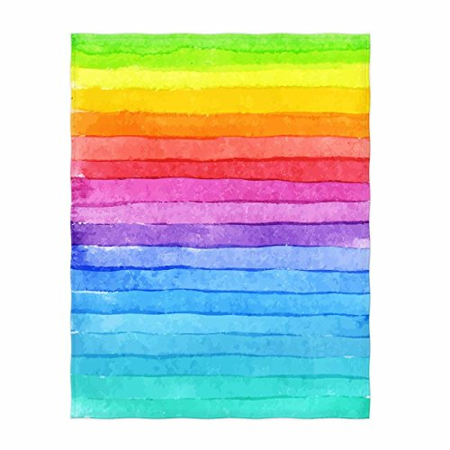 QH 58 x 80 Inch Rainbow Color Print Super Soft Throw Blanket for Bed Couch Sofa Lightweight Travelling Camping Throw Size for Kids Adults All Season