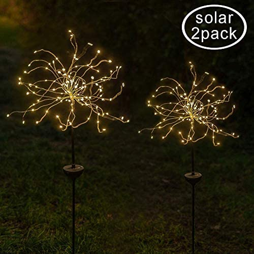 2 Pack 120 LED Solar Fireworks Lights, Hanging Solar Starburst Lights for Christmas, Wedding, Party, Indoor, Outdoor 2, Warm White